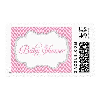 Fiesta de bienvenida al bebé gris rosada del marco sellos