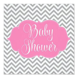 """Fiesta de bienvenida al bebé gris rosada moderna invitación 5.25"""" x 5.25"""""""