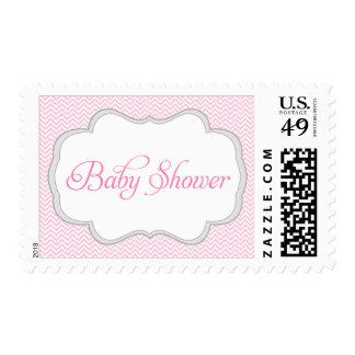 Fiesta de bienvenida al bebé gris rosada suave del timbres postales