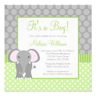 Fiesta de bienvenida al bebé gris verde del muchac comunicado personal