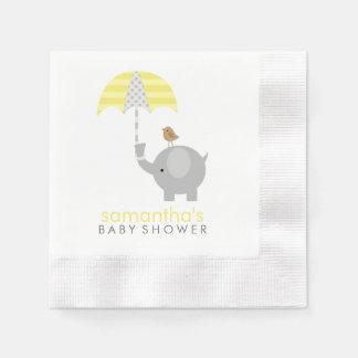 Fiesta de bienvenida al bebé gris y amarilla del e