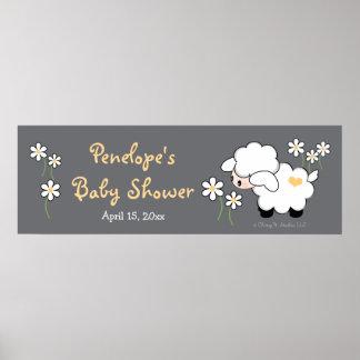 Fiesta de bienvenida al bebé gris y amarilla del póster