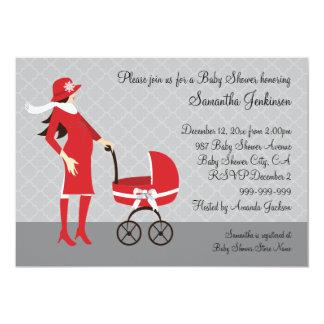 Fiesta de bienvenida al bebé gris y roja del comunicados personales