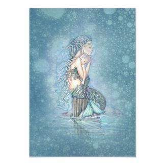 Fiesta de bienvenida al bebé hermosa de la sirena invitación 12,7 x 17,8 cm