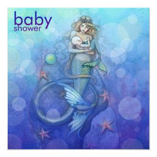 Fiesta de bienvenida al bebé hermosa de la sirena invitación 13,3 cm x 13,3cm