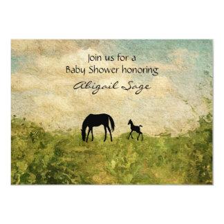 """Fiesta de bienvenida al bebé hermosa del caballo invitación 4.5"""" x 6.25"""""""