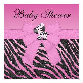 Fiesta de bienvenida al bebé impresa cebra rosada invitación 13,3 cm x 13,3cm
