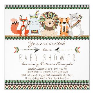 """Fiesta de bienvenida al bebé india nativa animal invitación 5.25"""" x 5.25"""""""