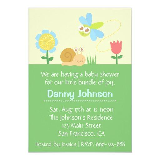 Fiesta de bienvenida al bebé: Libélula y caracol Invitación 12,7 X 17,8 Cm