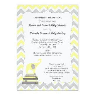 """Fiesta de bienvenida al bebé, libros y brunch invitación 5"""" x 7"""""""