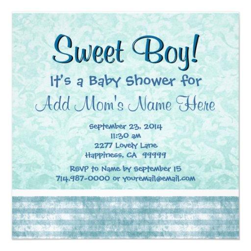 Fiesta de bienvenida al bebé linda B470 del muchac Invitacion Personal