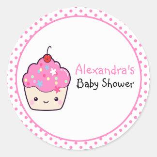Fiesta de bienvenida al bebé linda de la magdalena pegatina redonda