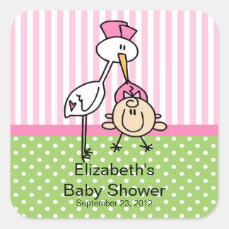 Fiesta de bienvenida al bebé linda de la niña de l calcomanía cuadrada