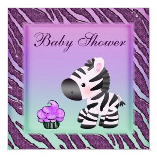 Fiesta de bienvenida al bebé linda de la púrpura comunicado personalizado