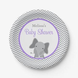 Fiesta de bienvenida al bebé linda de la púrpura platos de papel