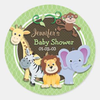 Fiesta de bienvenida al bebé linda de la selva; pegatina redonda