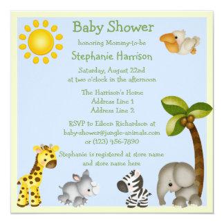 Fiesta de bienvenida al bebé linda de los animales invitación 13,3 cm x 13,3cm