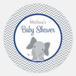 Fiesta de bienvenida al bebé linda de los azules pegatina redonda