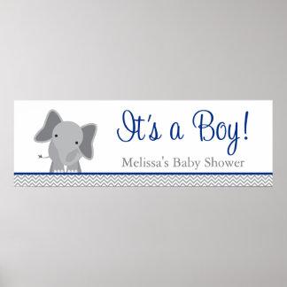 Fiesta de bienvenida al bebé linda de los azules póster