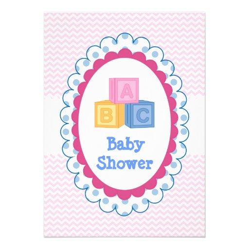 Fiesta de bienvenida al bebé linda de los bloques  anuncios personalizados