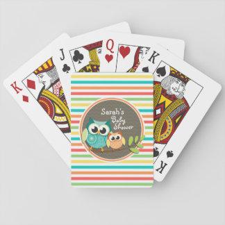 Fiesta de bienvenida al bebé linda de los búhos, cartas de juego