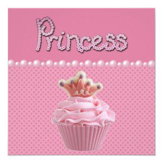 """Fiesta de bienvenida al bebé linda de princesa invitación 5.25"""" x 5.25"""""""