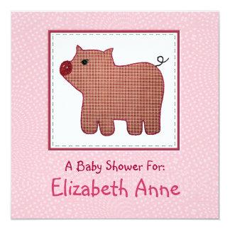 """Fiesta de bienvenida al bebé linda del cerdo de la invitación 5.25"""" x 5.25"""""""