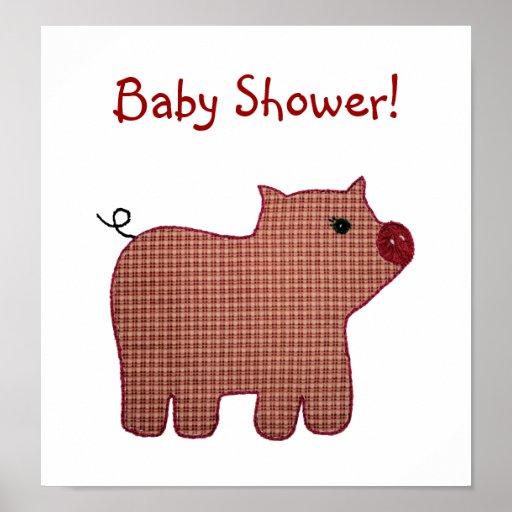 Fiesta de bienvenida al bebé linda del cerdo de la poster