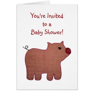Fiesta de bienvenida al bebé linda del cerdo de la tarjeta pequeña