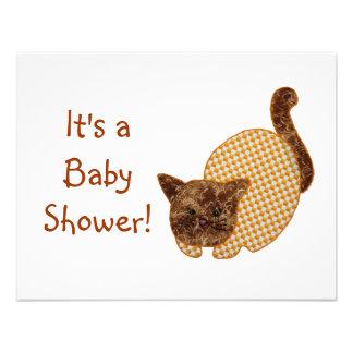Fiesta de bienvenida al bebé linda del gato del am comunicado personalizado