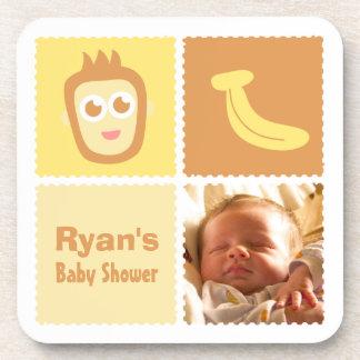 Fiesta de bienvenida al bebé linda del mono y del  posavasos de bebidas