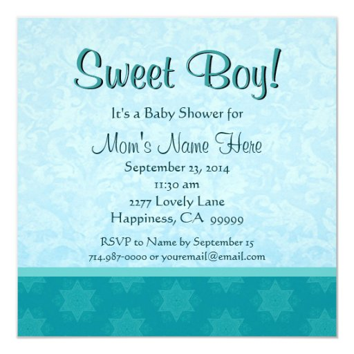 """Fiesta de bienvenida al bebé linda del muchacho de invitación 5.25"""" x 5.25"""""""
