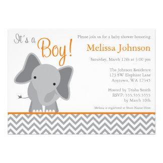 Fiesta de bienvenida al bebé linda del naranja de comunicado