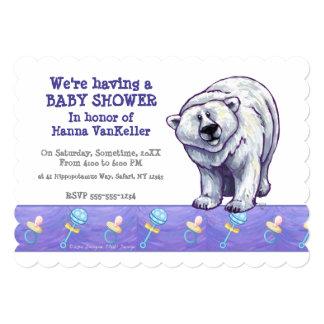 """Fiesta de bienvenida al bebé linda del oso polar invitación 5"""" x 7"""""""