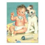 Fiesta de bienvenida al bebé linda del perro de invitación 10,8 x 13,9 cm