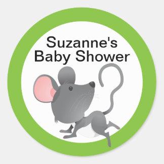 Fiesta de bienvenida al bebé linda del ratón en pegatina redonda