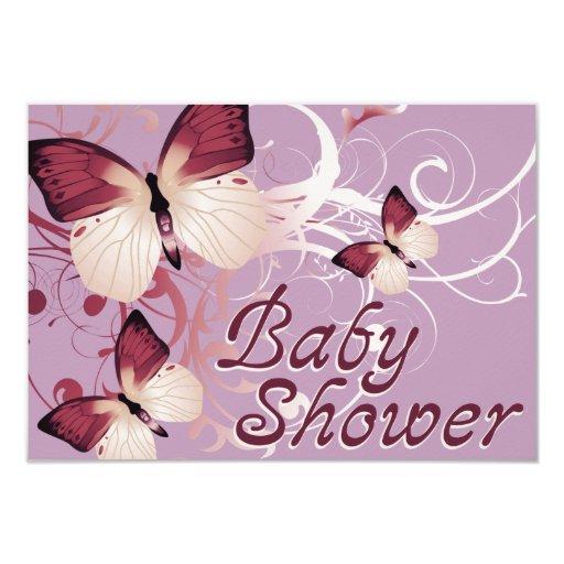 """fiesta de bienvenida al bebé: mariposas invitación 3.5"""" x 5"""""""