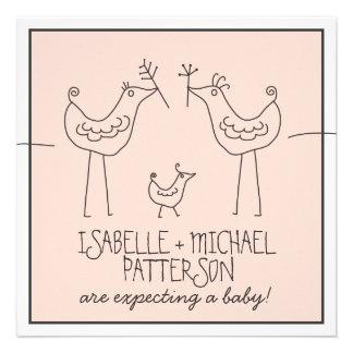 Fiesta de bienvenida al bebé moderna de los pares invitaciones personalizada