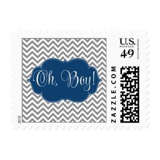 Fiesta de bienvenida al bebé moderna del muchacho timbre postal
