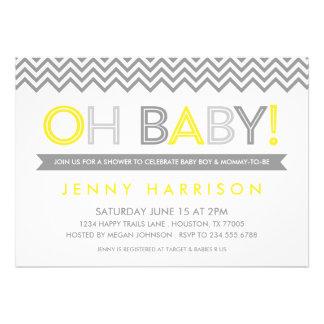 Fiesta de bienvenida al bebé moderna gris y amaril comunicado personalizado