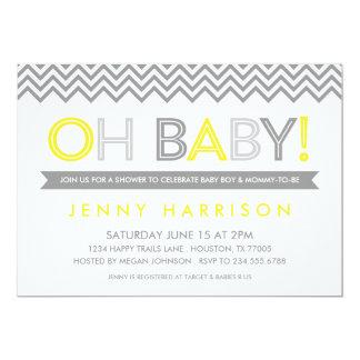 """Fiesta de bienvenida al bebé moderna gris y invitación 5"""" x 7"""""""