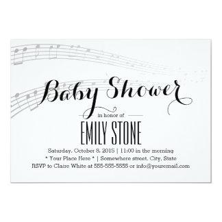 """Fiesta de bienvenida al bebé musical simple y invitación 5"""" x 7"""""""
