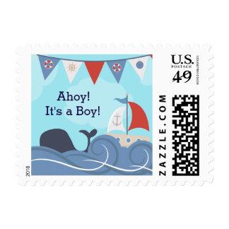 Fiesta de bienvenida al bebé náutica de la ballena timbres postales