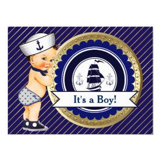"""Fiesta de bienvenida al bebé náutica de la marina invitación 6.5"""" x 8.75"""""""