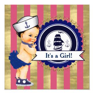 """Fiesta de bienvenida al bebé náutica de los chicas invitación 5.25"""" x 5.25"""""""