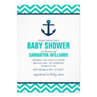 Fiesta de bienvenida al bebé náutica del ancla y d