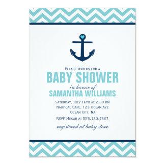 Fiesta de bienvenida al bebé náutica del ancla y anuncio personalizado