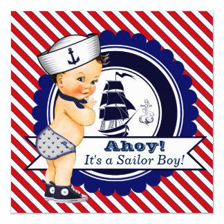 """Fiesta de bienvenida al bebé náutica del marinero invitación 5.25"""" x 5.25"""""""