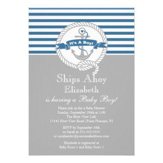 Fiesta de bienvenida al bebé náutica del muchacho invitación personalizada