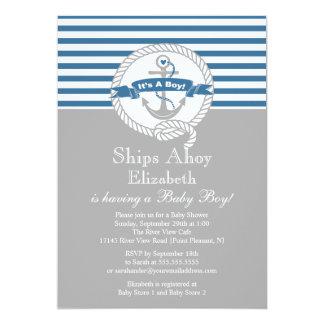Fiesta de bienvenida al bebé náutica del muchacho invitación 12,7 x 17,8 cm